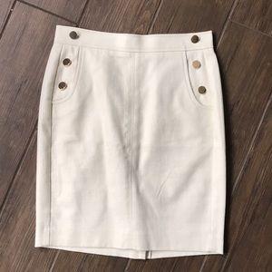 White Loft petite pencil skirt with gold details